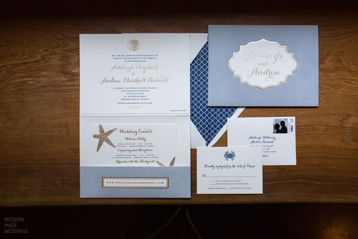 rosemary beach wedding invitations
